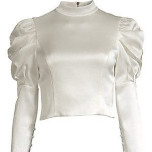 Alice + Olivia Brenna Fitted Puff-Sleeve Top